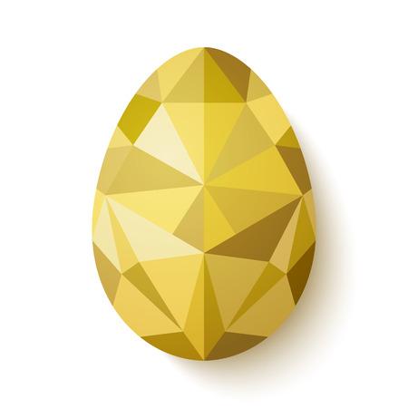 白い背景で隔離の黄金の卵のポリゴンでフラットなデザイン。ベクトルの図。流行に敏感な低ポリ三角形のスタイルで幸せなイースター カード。グ
