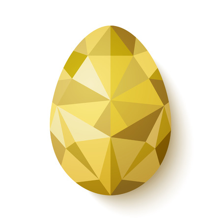 Flat design polygon of golden egg isolated on white background. Vector illustration. Happy Easter card in hipster low poly triangle style. Perfect for greeting card or elegant party invitation.