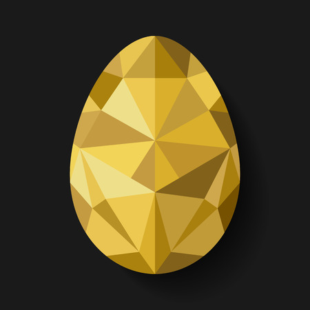 Flat design polygon of golden egg isolated on black background. Vector illustration. Happy Easter card in hipster low poly triangle style. Perfect for greeting card or elegant party invitation. Çizim