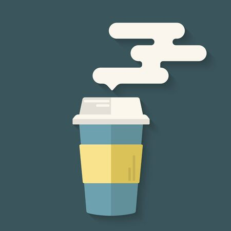 Flat design icon of coffee cup with steam. Concept for takeaway or coffee to go shop. Vector illustration.