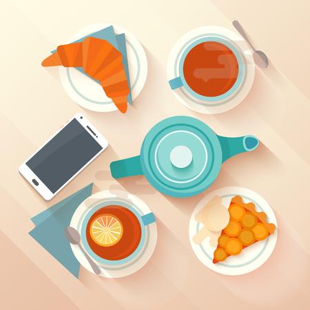Desayuno para dos personas con una taza de t�, tarta de albaricoque y croissant. Concepto para caf�s y bares de men�. dise�o aplanada con largas sombras. Ilustraci�n del vector. Vectores