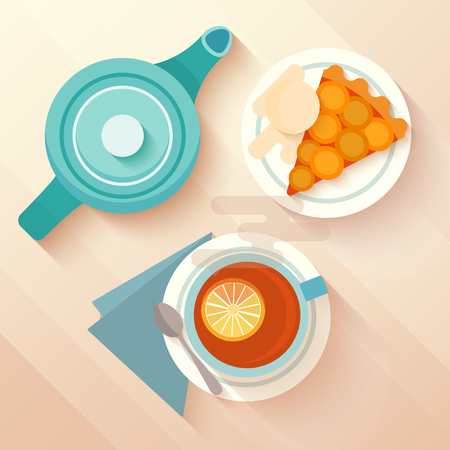 english breakfast: English breakfast with a cup of tea, apricot pie and teapot. Concept for menu cafes and bars. Flat lay design with long shadows. Vector illustration.
