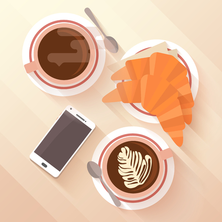 Breakfast for two with a cup of cappuccino and croissant. The modern habit of surfing in the smart phone while eating in a cafe. Flat lay design with long shadows. Vector illustration. Vectores