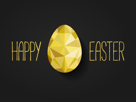 raw egg: Happy Easter banner in low poly triangle style.  Flat design polygon of golden egg isolated on black background. Vector illustration. Perfect for greeting card or elegant party invitation. Illustration