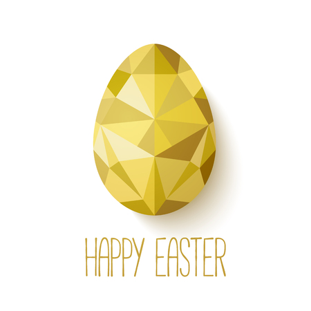 Happy Easter greeting card in low poly triangle style.  Flat design polygon of golden egg isolated on white background. Vector illustration. Perfect for greeting card or elegant party invitation. Ilustração