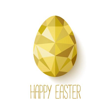 Happy Easter wenskaart in lage poly driehoek stijl. Platte ontwerp veelhoek van gouden ei op een witte achtergrond. Vector illustratie. Perfect voor de wenskaart of elegante partijuitnodiging.