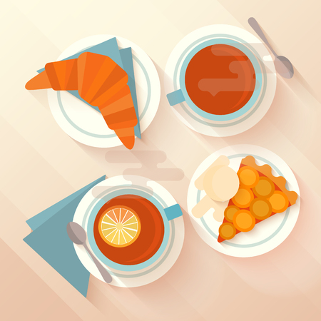 Breakfast for two with a cup of tea, apricot pie and croissant. Concept for menu cafes and bars. Flat lay design with long shadows. Vector illustration. Vectores