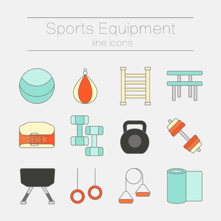 Set of modern flat line icons for sports equipment, gym training, bodybuilding and active lifestyle, fitness elements isolated on background. Vector illustration.