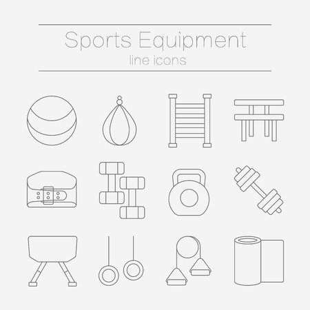 sports training: Set of modern flat line icons for sports equipment, gym training, bodybuilding and active lifestyle, fitness elements isolated on background. Vector illustration.