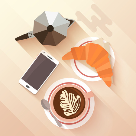 lay: Italian breakfast with a cup of cappuccino, croissant and coffee maker. The modern habit of surfing in the smart phone while eating in a cafe. Flat lay design with long shadows. Vector illustration.
