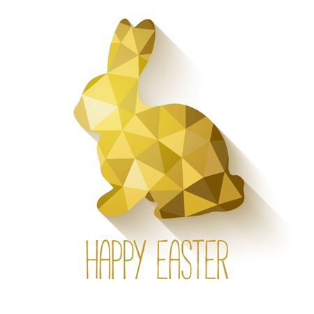 shape triangle: Happy Easter greeting card in low poly triangle style.  Flat design polygon of golden easter bunny isolated on white background. Vector illustration.