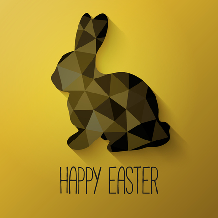 Happy Easter greeting card in low poly triangle style.  Flat design polygon of Easter bunny isolated on golden background. Vector illustration.
