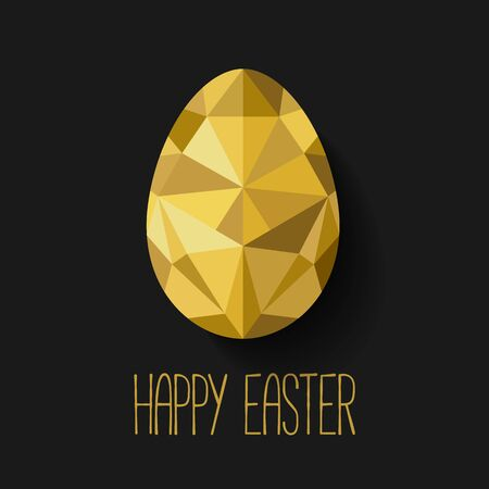 Happy Easter greeting card in low poly triangle style.  Flat design polygon of golden egg isolated on black background. Vector illustration. Perfect for greeting card or elegant party invitation. Vectores
