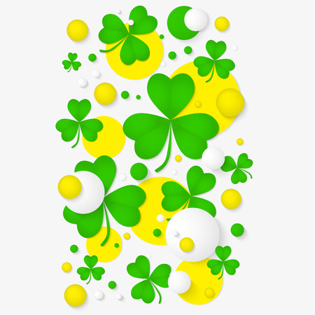 st patricks party: Vector vertical banner with trefoil and 3d balls. Abstract background for St. Patricks day party poster design. Template of invitation, flyer, poster or greeting card.
