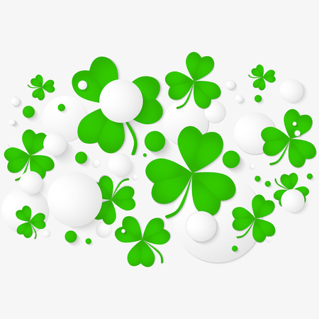 st patricks party: Vector horizontal banner with trefoil and 3d balls. Abstract background for St. Patricks day party poster design. Template of invitation, flyer, poster or greeting card.