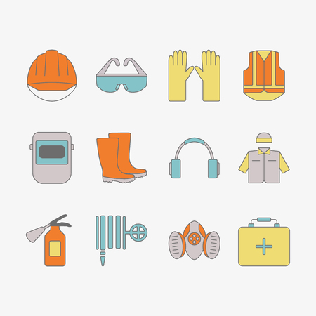 Vector set of safety work icons, including tools. Modern line style labels of safety and protection elements. Illusztráció