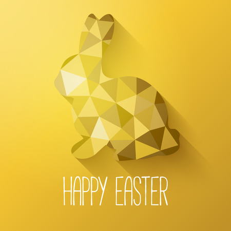 Happy Easter greeting card in low poly triangle style.  Flat design polygon of golden easter bunny. Vector illustration.
