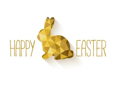 Bandera de Pascua feliz en estilo de bajo poli triángulo. polígono diseño plano del conejito de Pascua de oro aislado en el fondo blanco. Ilustración del vector. Perfecta para la tarjeta de felicitación o invitación elegante del partido.