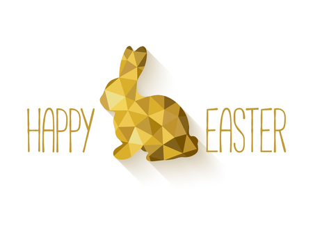 Happy Easter banner in low poly triangle style.  Flat design polygon of golden easter bunny isolated on white background. Vector illustration. Perfect for greeting card or elegant party invitation.