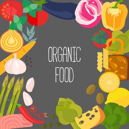 Marco de los alimentos destinadas plana con copyspace. La dieta y la plantilla de alimentos org�nicos. el concepto de alimentaci�n saludable para revistas de vectores saludables, sitios web y boletines de cocina.