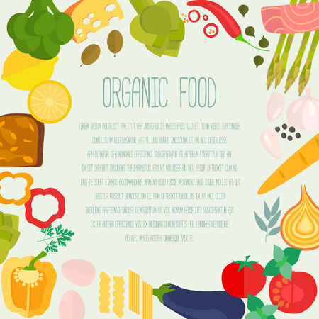 Frame of flat designed food with copyspace. Healthy eating vector concept for healthy magazines, cooking web sites and newsletters. Illustration