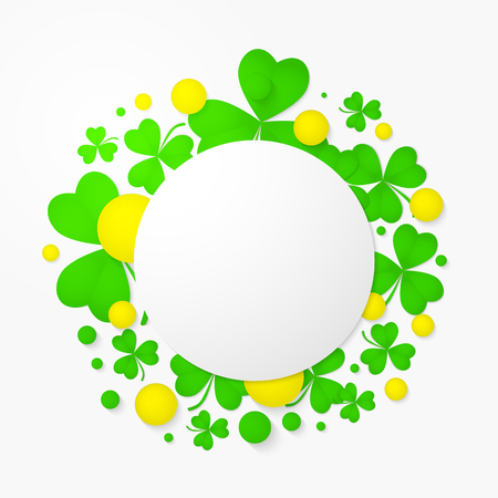 st patricks party: Vector round banner with trefoil and 3d balls. Abstract background for St. Patricks day party poster design. Template of invitation, flyer, poster or greeting card.