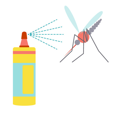 infected mosquito: Flat design icon of repellent and mosquito. Zica virus allert concept. Vector illustration. Illustration