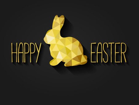 Happy Easter greeting card in low poly triangle style.  Flat design polygon of golden easter bunny isolated on black background. Vector illustration. Vectores