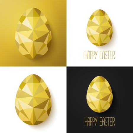 Las tarjetas de pascua creativas modernas en negro, dorado y blanco. Ilustración del vector. polígono diseño plano de los huevos de oro. Perfecta para la tarjeta de felicitación o invitación elegante del partido. Vectores