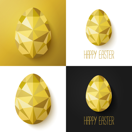 golden eggs: Modern creative Easter cards in black, gold and white. Vector illustration. Flat design polygon of golden eggs. Perfect for greeting card or elegant party invitation.