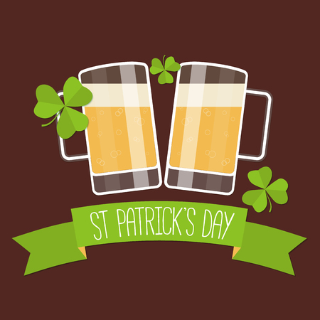 Happy St Patricks day card with beer, lucky clover and ribbon. Vector illustration.