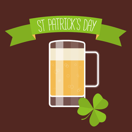 lucky clover: Happy St Patricks day card with beer, lucky clover and ribbon. Vector illustration.