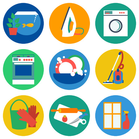 apartment cleaning: House work icons. Vector illustration.  Flat design. Illustration