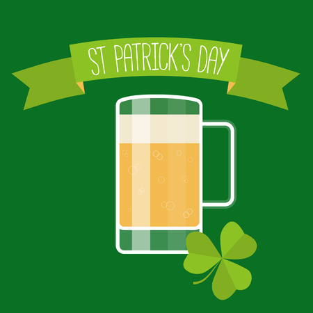 beer card: Happy St Patricks day green card with beer, lucky clover and ribbon. Vector illustration.