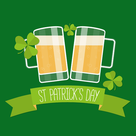 lucky clover: Happy St Patricks day green card with beer, lucky clover and ribbon. Vector illustration.