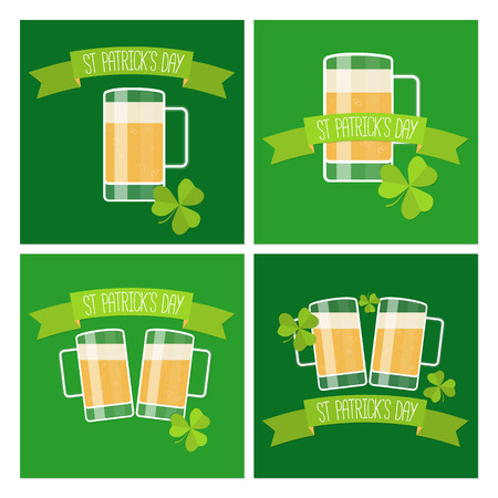 lucky clover: Collection of Happy St Patricks day green cards with beer, lucky clover and ribbon. Vector illustration.