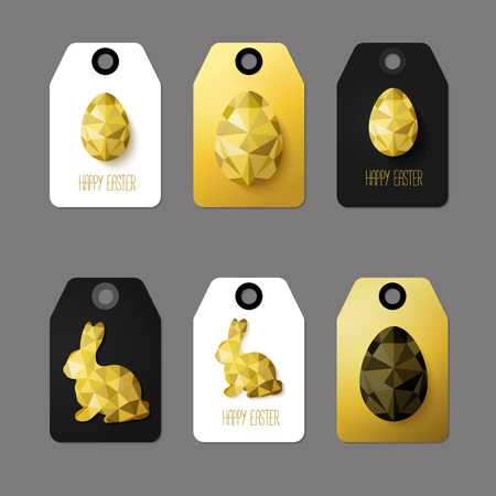 golden eggs: Modern Easter cards, ready-to-use gift tags in black, gold and white. Vector illustration. Flat design polygon of golden eggs and Easter Bunny. Perfect for greeting card or elegant party invitation. Illustration