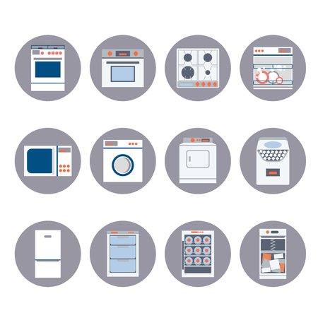 gas stove: Flat design set modern icons of home appliances isolated.