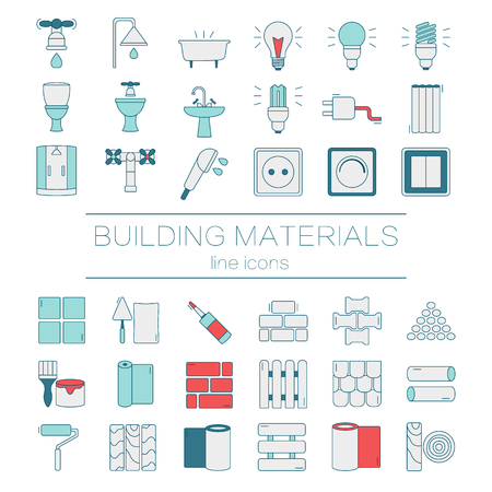 building materials: Big set of modern thin line  color icons building materials.