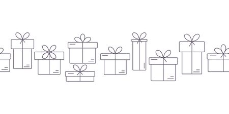 box design: Seamless border banner with thin line icons of gift boxes.