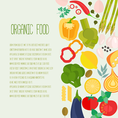 Frame of flat designed food with copyspace. Healthy eating vector concept for healthy magazines, cooking web sites and newsletters. Ilustração