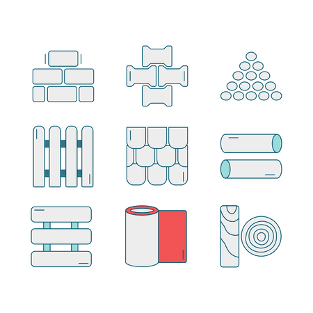 materials: Set of line icons for DIY, construction, building materials. Pictograms for DIY shop, construction and building materials. Vector illustration. Illustration