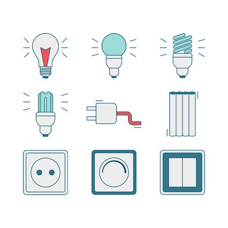 electricidad industrial: Vector conjunto de iconos de electricidad, incluidas las herramientas. iconos de estilo de l�nea de modernos elementos de herramientas el�ctricas. Pictogramas para los materiales de la tienda, construcci�n y edificaci�n de bricolaje. Ilustraci�n del vector.