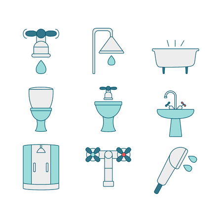 sanitary engineering: Vector set of sanitary engineering icons, including tools. Modern line style icons of sanitary elements. Pictograms for DIY shop, construction and building materials. Vector illustration.