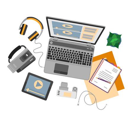 Vista superior de lugar de trabajo con dispositivos para la edición de vídeo, tutoriales y post producción. Ilustración de vector