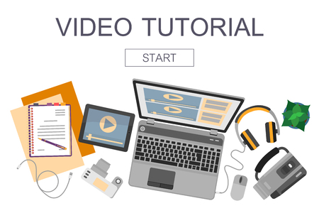 audio: Top view of workplace with devices for video edit, tutorials and post production. Illustration