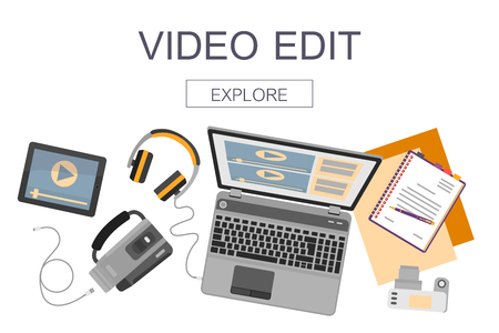 Top view of workplace with devices for video edit, tutorials and post production. Ilustração