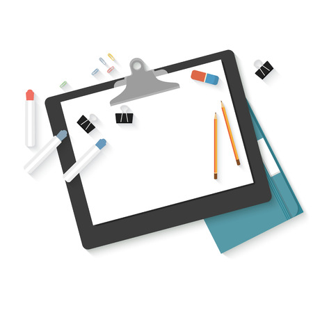 sketchpad: Flat design mock up per creative workspace with objects for creative workplace design isolated on white background. Illustration