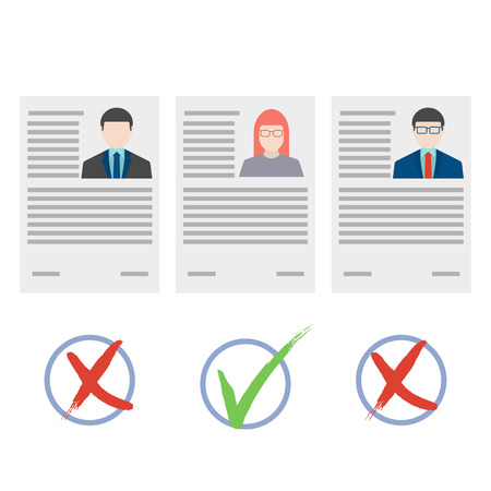 candidate: Flat design vector illustration concepts for human resource and recruitment.