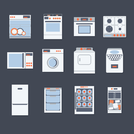 cooktop: Flat design set modern icons of home appliances isolated.